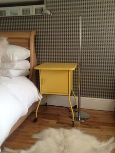 Just love my quirky little bedside table...I painted it in Farrow & Ball Babouche Estate Eggshell paint...love it's sunny gorgeousness :0)