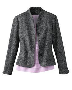 Button front bouclé jacket - [K09712]