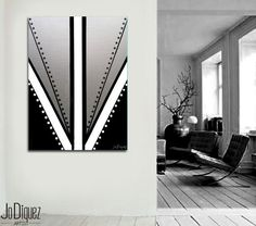 """Original abstract painting on canvas art 30x40"""" Geometric with silver. Big painting. Metallic art. Modern wall art Silver painting. Fine art"""