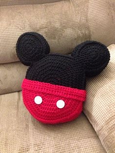 6de35d78c00 Crochet pillow Mickey Mouse inspired icon mouse ears toss pillow throw  pillow on Etsy