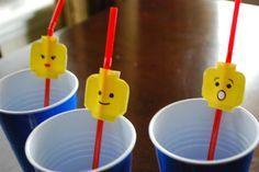 Treat bag idea: Lego straws