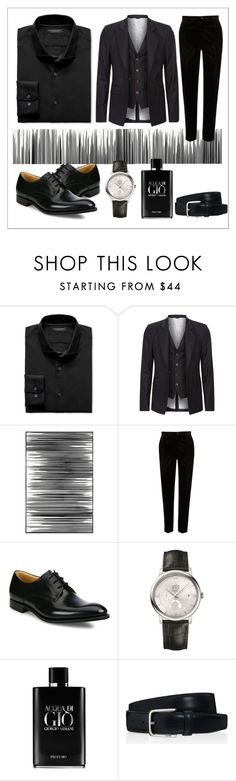 """Men In Black"" by nabilahfakhirah ❤ liked on Polyvore featuring Banana Republic, Vivienne Westwood, Art Addiction, River Island, Church's, OMEGA, Giorgio Armani, Tod's, men's fashion and menswear"