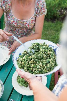 A chunky cashew pesto made with sharp, pungent Västerbotten cheese is tossed with chopped arugula to yield an unctuous salad with a robust umami flavor. Swedish home cook Asa Johanson prepared this nut-enriched side dish for her Midsummer celebration in Vickleby, Sweden.