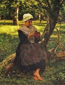 Jules Breton (French Realist Painter, 1827-1906) A Peasant Girl Knitting 1887