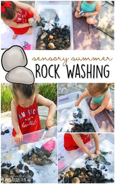 10 Ways to Play With Rocks {Sensory Summer} - Washing! This is the perfect outdoor activity for summer tot school preschool or kindergarten! 10 Ways to Play With Toddlers And Preschoolers, Outdoor Activities For Toddlers, Activities For 2 Year Olds, Outside Activities, Nature Activities, Sensory Activities, Sensory Bins, Sensory Play, Summer Preschool Activities