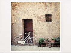 Tuscany Street, 8x8, Italy Photography, Home Decor, Bicycle $32.00