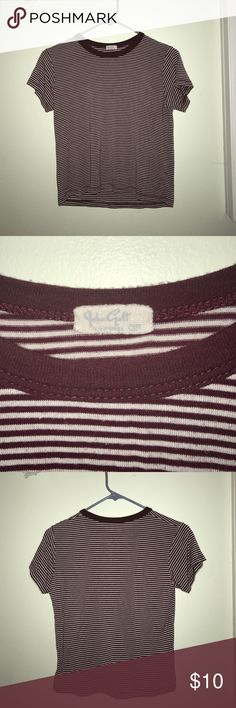 BRANDY MELVILLE maroon stripped T-shirt only worn a couple times-- maroon brandy top! cute and basic:)) Brandy Melville Tops Tees - Short Sleeve