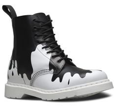 With both feet firmly in rebellious subculture, the Pascal boot gets a psychobilly update this season. We've taken inspiration from the slimy graphics the subculture's known for and incorporated them on our key styles in a monotone pallette. Created in a lightweight, full-grain soft leather with a soft feel, these 8-eye boots have our signature air-cushioned sole and a whole lot of attitude.