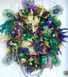 Mardi Gras Door Wreaths | Mardi Gras wreath, custom order , many styles, door wreath, ... | wre ...