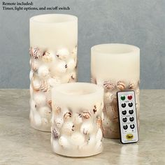 Treasures of the Sea LED Flameless Candle Set with Remote