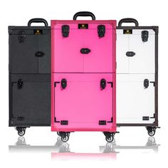 Check out this SHANY Rebel Alpha Pro professional makeup train case. This rolling makeup train case is large enough to store your entire makeup collection! Cosmetic Train Case, Makeup Train Case, Rolling Makeup Case, Makeup Storage Trolley, Portable Makeup Station, Makeup Artist Kit, Makeup Artists, Makeup Kit, Makeup Tools