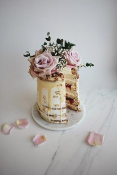 Rhubarb and Rose Naked Cake with Coconut Buttercream
