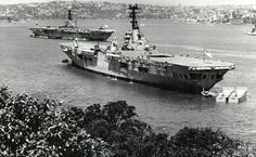 HMAS Sydney in Sydney Harbour 1967, with HMAS Melbourne in the background.