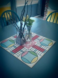 Old game board as a centerpiece