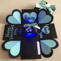 - info - size: explosion box card with - 2 layers - 4 customized Boyfriend Crafts, Diy Gifts For Boyfriend, Birthday Gifts For Boyfriend, Cute Birthday Gift, Diy Birthday, Exploding Gift Box, Valentines Gift Box, Fun Arts And Crafts, Diy Gift Box