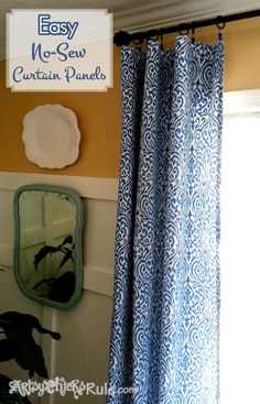 Super easy and inexpensive!  No Sew Family Room Curtain Panels