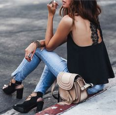 Lace t-shirt, jeans. Chic style. Fashionedchicstyling