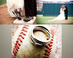 Sports themed wedding photos