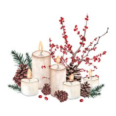 Find Watercolor Christmas Composition Christmas Decorations Candles stock images in HD and millions of other royalty-free stock photos, illustrations and vectors in the Shutterstock collection. Christmas Candle Decorations, Diy Christmas Cards, Christmas Mood, Christmas Candles, Christmas Crafts, Nordic Christmas, Modern Christmas, Winter Holiday, Watercolor Christmas Cards