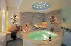 Incredible Indoor Hot Tub (beautiful lighting and decor colors) -- Curated by: Desert Pools And Spas | 389 Tranquille Rd, Kamloops, BC, V2B 3G4 | 2505545548