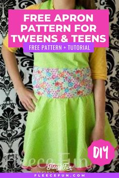 This easy-to-make tween apron is the perfect handmade gift. With a flirty halter style and circle skirt, this is the cutest apron around. This free pattern and tutorial make this a great beginning sewing project. Discover tips and tricks to make this sewing project easier. Make your aspiring chef this adorable apron. Easy Sewing Patterns, Easy Sewing Projects, Sewing Projects For Beginners, Sewing Tutorials, Fun Projects, Sewing Essentials, Cute Aprons, Sewing Lessons, Aprons Vintage