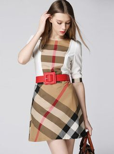 O-neck Half Sleeve Plaid Splicing Cotton Dress Plaid Fashion, Fashion Bags, Casual Dresses, Dresses For Work, Rajputi Dress, Burberry Dress, Brown Eyed Girls, Half Sleeves, Well Dressed