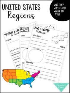 <p>This project includes printable project pages for each of the five regions of the United States.  It is an excellent companion to any Social Studies curriculum, and fosters students knowledge of the regions.  This project can be done as group work, or individually. There are so many different ways this could be utilized in your classroom.</p><p></p><p>Each region includes pages on:</p><p>Regional Blank Map</p><p>Land & Water</p><p>Resources</p><p>Climate</p><p>History & Growth</p><p>L Group Work, United States, The Unit, Social Studies Curriculum, United States Regions, Curriculum, Study Unit, United States Regions Project, Region