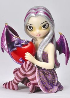 Valentine Dragon by Jasmine Becket Griffith Fairy Figurine Licensed Collectible Fairy Statues, Fairy Figurines, Dragon Princess, Princess Art, Cute Fairy, Baby Fairy, Dracula, Fairy Templates, Fairy Terrarium