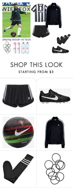"""playing soccer w/ louis"" by nellyanna ❤ liked on Polyvore featuring adidas Originals, NIKE, H&M and Evian"