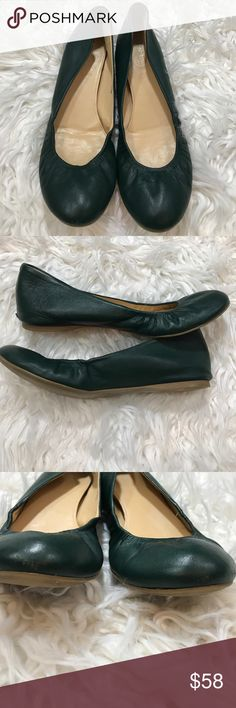 J. Crew Boulevard Green Cece Ballet Flat J Crew Cece leather ballet flats, boulevard green, size 8M, Lightly worn. Only flaw is in photos. Light scratch on toe and wear on heels can't see when wearing. Priced to sell  We resurrected one of our most popular ballet flats from the J.Crew archives--and for good reason. With a cushioned insole for maximum comfort, a rubber sole for maximum flexibility and an elasticized detail so they hug your feet, they're as comfortable as they are good…