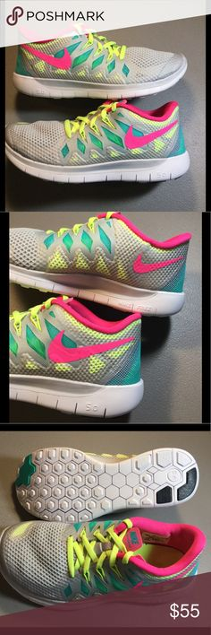 💥 Nike Free 5.0 GS Youth Girl Running Shoes💥 The Nike Free series focuses on a more natural barefoot-like run, and the Free 5.0 2014's carry on the tradition! Features of this neutral running shoe include:  Mesh upper with Flywire Technology – provides breathability without sacrificing necessary stability and support that the foot needs! Seamless inner booty – surrounds the foot with a plush cloud-like cushion! Phylon midsole with Flex Grooves – delivers additional support and flexibility…