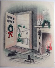 Scottie Dog and Cat by the Fireplace Vintage Christmas Card 586 Images Vintage, Vintage Christmas Images, Vintage Holiday, Christmas Pictures, Vintage Greeting Cards, Christmas Greeting Cards, Christmas Greetings, Vintage Ephemera, Christmas Post