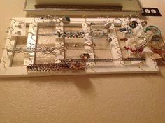 Homemade jewelry hanger.