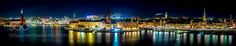 Panorama over Stockholm at night by HenrikJuhlin