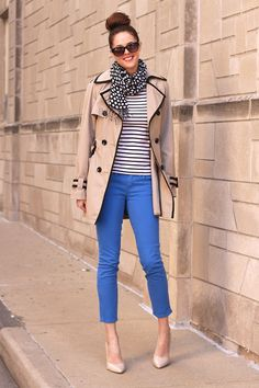 cute stripes + color Blue Jeans on What I Wore, Jessica Quirk, Stripes, Polka Dots, Trench, whatiwore.tumblr.com
