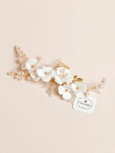 Description Shipping Our cherry blossom design handmade of pure silk was gathered together with gold details to create this bridal hair piece. Details about thi