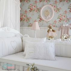 Papel de Paredes para decoração de quarto de bebê e infantil  811016, REF811016, Rosas, flores, azul, branco, verde, rosa | SP, BH, MG, RJ, DF