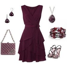 Plum outfit with accessories