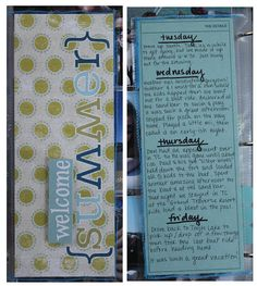 Love the idea of adding the weekly journaling as an insert. Great for weeks with several pictures.
