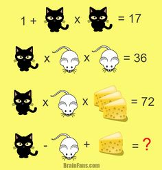 Brain teaser - Number And Math Puzzle - hard math - Try this hard math puzzle. Cat, cheese and mouse. All to test your brain. Take a paper and solve this hard one! Yes: 🐱 = 🐭 = & cheese = therefore 4 - 3 + 6 = Fun Math, Math Games, Math Activities, Hard Puzzles, Logic Puzzles, Math Riddles With Answers, Logic Math, Math Talk, Math Challenge