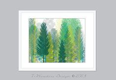 "Modern Tree Art, Tree Dreams - Digital Fine Art - 10"" x 8"" OR 14"" x 11"" -  Modern Home Decor Wall Art-  Poster Print // Green, Grey, Teal"