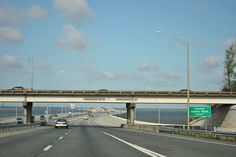 Crossing Escambia Bay between Escambia and Santa Rosa Counties on Interstate 10. Escambia Bay opens into Pensacola Bay and Santa Rosa Sound to the south and is fed by the Escambia River to the north. That tributary comprises the boundary between the two counties.