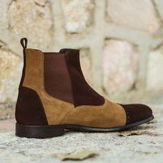 Men,s Handmade Chelsea Boot Multi in Dark Brown and Camel Lux Suede - Dress/Formal