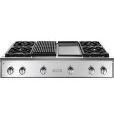 """ZGU484NGPSS - Monogram® 48"""" Professional Gas Rangetop with 4 Burners, Grill, and Griddle (Natural Gas) - The Monogram Collection"""