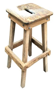 Out of the shop, and into the home! This is a vintage, hand made, wooden shop stool. Perfect rustic piece that's sure to add character in any room! It is clean, with some original white paint on top o