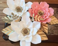 3pc paper flower set decor. Customizada a cualquier color