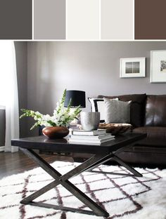 Modern Rustic Living Room - Grey walls, dark brown furniture, & bright colors for accent. Living Room Color Schemes, Living Room Colors, Living Room Designs, Colour Schemes, Color Palettes, Brown Couch Living Room, Living Room Paint, Living Rooms, Dark Floor Living Room