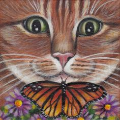 Orange Tabby Cat & Butterfly - Mini Painting