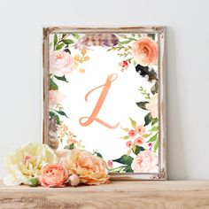 Floral Art, Nursery Decor, Wall Art, Nursery Wall Art, Nursery Artwork, Baby Gift, Floral Wreath Letter, Monogram, Blush, Peach, Rose, Coral