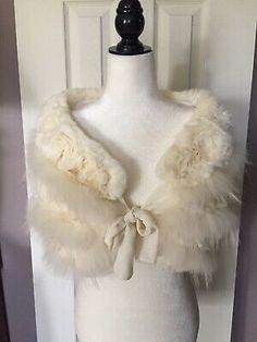 Linda Richards Luxury Fur Rosette Bridal Shawl Shrug  | eBay Wedding Fur, Wedding Shawl, Wedding Wraps, Bridal Bolero, Bridal Lace, Faux Fur Wrap, Winter Fur Coats, Shawls And Wraps, Rosettes